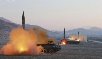 In this image made from video released by KRT on Tuesday, March 7, 2017, North Korea launches four missiles in an undisclosed location North Korea. On Monday, North Korea fired four ballistic missiles in an apparent protest against ongoing U.S.-South Korean military drills that it views as an invasion rehearsal. (KRT via AP Video)