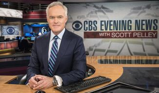 "This 2016 image released by CBS shows Scott Pelley on the set of ""CBS Evening News with Scott Pelley,"" in New York. Pelley is emerging as a blunt evaluator of President Donald Trump on his ""CBS Evening News"" broadcast.  The one-liners are sharp in a way that's unusual for the evening news, and sets Pelley apart from his rivals, Lester Holt of NBC's ""Nightly News"" and David Muir of ABC's ""World News Tonight."" (John Paul Filo/CBS via AP)"