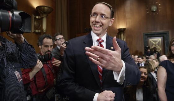 Deputy Attorney General-designate, federal prosecutor Rod Rosenstein, arrives on Capitol Hill in Washington, Tuesday, March 7, 2017, to testify at his confirmation hearing before the Senate Judiciary Committee.  (AP Photo/J. Scott Applewhite)
