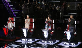 "This image released by NBC shows judges, from left, Adam Levine, Gwen Stefani, Alicia Keys and Blake Shelton on the set of ""The Voice,"" in Universal City, Calif. ""The Voice"" returned from a hiatus and earned three of the top four slots in the Nielsen company's list of the most-watched programs last week. (Trae Patton/NBC via AP)"