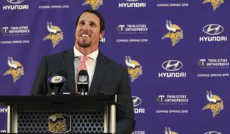 Chad Greenway speaks at a news conference in Eden Prarie, Minn., Tuesday, March 7, 2017. After 11 seasons, 1,334 tackles, two Pro Bowls and an incalculable amount of work in the community, longtime Minnesota Vikings linebacker Chad Greenway has decided to retire.  (Anthony Souffle/Star Tribune via AP)