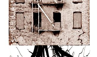 Illustration on the roots of urban decay by Alexander Hunter/The Washington Times