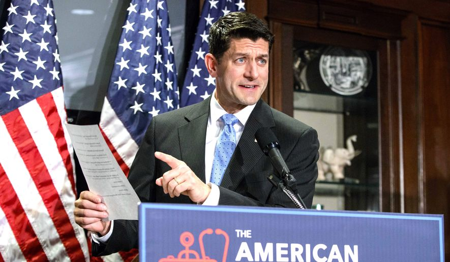 House Speaker Paul Ryan vigorously talks up the American Health Care Act at Republican National Committee Headquarters. (Associated Press) ** FILE **