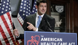 House Speaker Paul Ryan of Wis. speaks during a news conference at the Republican National Committee Headquarters on Capitol Hill in Washington, Wednesday, March 8, 2017, as the GOP works on its long-awaited plan to repeal and replace the Affordable Care Act.  (AP Photo/J. Scott Applewhite)
