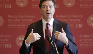 FBI Director James Comey gestures as he speaks on cyber security at the first Boston Conference of Cyber Security at Boston College, Wednesday, March 8, 2017, in Boston. (AP Photo/Stephan Savoia)