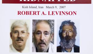 In this March 6, 2012, file photo, an FBI poster showing a composite image of former FBI agent Robert Levinson, right, of how he would look like now after five years in captivity, and an image, center, taken from the video, released by his kidnappers, and a picture before he was kidnapped, left, displayed during a news conference in Washington. It's been 10 years since former FBI agent Robert Levinson disappeared while in Iran on an unauthorized CIA mission and his family is still waiting for answers. His family tells The Associated Press they hope the new administration of President Donald Trump will do more to find him. (AP Photo/Manuel Balce Ceneta, File)