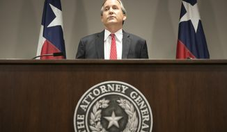 ADVANCE FOR USE SUNDAY, MARCH 12, 2017 AND THEREAFTER-FILE - In this May 25, 2016 file photo, Republican Texas Attorney General Ken Paxton announces Texas' lawsuit to challenge President Obama's transgender bathroom order during a news conference in Austin, Texas. In Texas, reporters seeking public documents and data are increasingly running into a road block: the state attorney general's office. The agency is the arbiter of the state's open records laws, yet in recent years has been flooded with requests from governments at all levels seeking to withhold information. The agency almost always allows them to do so. (Jay Janner/Austin American-Statesman via AP)