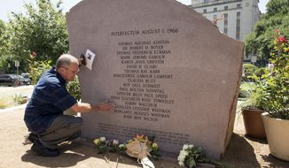 """FILE - In this Aug. 1, 2016, file photo, Nelson Leissner pauses in memory of his sister, Kathleen Leissner Whitman, at the memorial during the 50th anniversary remembrance of the University of Texas at Austin tower shootings, at the school in Austin, Texas. The incorrect form of a Latin word has been replaced on the granite memorial for victims of the 1966 shooting. The Austin American-Statesman reports that names of the 17 people slain were etched on the monument below the Latin word """"Interfectum,"""" equivalent to the English word """"killed,"""" which UT classics professors say was grammatically incorrect and negative in tone. (Jay Janner/Austin American-Statesman via AP, File)"""