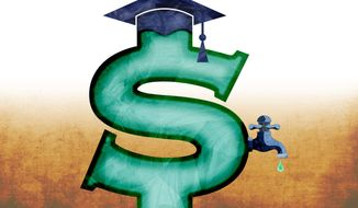 Illustration on addressing college debt by Greg Groesch/The Washington Times
