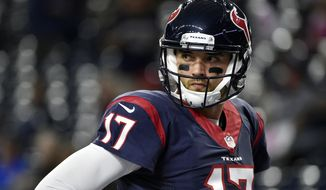FILE - In this Oct. 16, 2016, file photo, Houston Texans' Brock Osweiler (17) prepares for an NFL football game against the Indianapolis Colts in Houston. The Texans traded Osweiler to the Cleveland Browns on Thursday, March 9, 2017. (AP Photo/George Bridges, File)