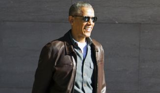 Former President Barack Obama leaves the National Gallery of Art in Washington on March 5, 2017. (Associated Press) **FILE**