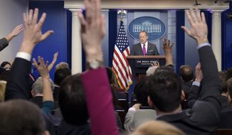 White House press secretary Sean Spicer speaks during the daily briefing at the White House in Washington, Thursday, March 9, 2017. Spicer answered questions about small businesses, the economy, the federal budget and other topics. (AP Photo/Susan Walsh)