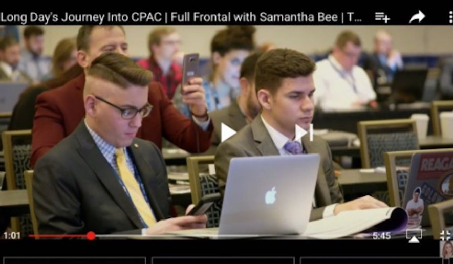 """TBS' """"Full Frontal With Samantha Bee"""" has publicly apologized for mocking an attendee at the Conservative Political Action Conference as having """"Nazi hair"""" after producers were informed that he's undergoing treatment for brain cancer. (Twitter/@meg_kelly16)"""