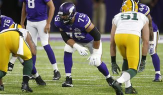 FILE - In this Sept. 18, 2016, file photo, Minnesota Vikings tackle Matt Kalil (75) gets set for a play during the first half of an NFL football game against the Green Bay Packers in Minneapolis. The Panthers have agreed to terms on a five-year contract with free agent offensive tackle Matt Kalil from the Vikings. He will be paired with his older brother Ryan Kalil, who is a two-time All-Pro center for the Panthers. (AP Photo/Jim Mone, File)