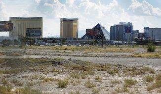 FILE - In this July 1, 2016, file photo, a vacant lot that is the site of a proposed football stadium sits near McCarran International Airport in Las Vegas. The board overseeing the proposed Las Vegas NFL stadium was set to meet Thursday, March 9, 2017, for the first time since the Oakland Raiders told the league that they have found a new partner to finance the facility. The meeting of the stadium authority board comes the same week the team presented to the NFL the new proposal with financing backed by Bank of America. (AP Photo/John Locher, File)