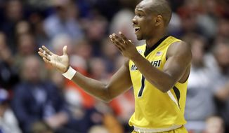 Missouri guard Terrence Phillips reacts to fouling out during the second half of the team's NCAA college basketball game against Auburn at the Southeastern Conference tournament Wednesday, March 8, 2017, in Nashville, Tenn. (AP Photo/Wade Payne)