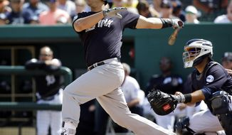 FILE - In this March 4, 2017, file photo, New York Yankees' Gary Sanchez watches the ball sail over the left field fence after hitting a home run in the third inning of a spring training baseball game against the Detroit Tigers,in Lakeland, Fla. New York is looking for its first trip to the AL Division Series since 2012 behind a crew of rising young stars led by Gary Sanchez and Greg Bird.  (AP Photo/John Raoux, File)