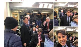 Fox News Radio Jon Decker glares at Gateway Pundit's Lucian Wintrich prior to an altercation in the White House briefing room on Friday, March 10, 2017. (Twitter, Lucian Wintrich)