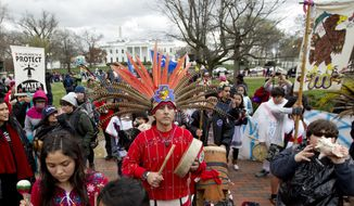 Demonstrators protest outside of the White House, Friday, March 10, 2017, in Washington, to rally against the construction of the disputed Dakota Access oil pipeline. ( AP Photo/Jose Luis Magana) ** FILE **