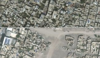 Combo from satellite photos provided by UNOSAT shows the city of Sur in Turkey's Diyarbakir Province on June 22, 2015, top, and on July 26, 2016 bottom. In a report released Friday, March 10, 2017 the U.N. human rights office is calling on Turkey's government to investigate alleged killings and other abuses in the country's southeast in a new report decrying violations including hundreds of alleged unlawful killings and the obliteration of nearly 1,800 buildings during security force operations over 18 months. (DigitalGlobe/UNOSAT via AP)