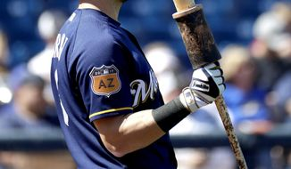Milwaukee Brewers left fielder Ryan Braun waits on deck during the first inning of a spring training baseball game against the Chicago White Sox, Friday, March 10, 2017, in Phoenix. It was Braun's first spring training game of the season. (AP Photo/Matt York)
