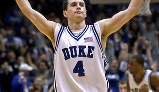 FILE - In this Dec. 10, 2005, file photo, Duke's J.J. Redick reacts after hitting a three-point shot during the second half of an NCAA college basketball game against Texas in East Rutherford, N.J.  More than a decade after his final game at Duke, the 2006 national player of the year and a group of other stars are urging athletes and fans to put civility back in college basketball. (AP Photo/Bill Kostroun, File)
