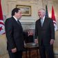 Tunisian Foreign Minister Khemaies Jhinaoui (left) met with Secretary of State Rex W. Tillerson on Monday and has meetings scheduled with other top officials this week. (Associated Press)