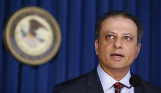 FILE- In this Sept. 17, 2015 file photo, U.S. Attorney Preet Bharara speaks during a news conference in New York.  On Wednesday, March 8, 2017, two days before Attorney General Jeff Sessions gave dozens of the country's top federal prosecutors just hours to resign and clean out their desks, Sessions gave those political appointees a pep talk during a conference call. Bharara said on Saturday, March 11, 2017, that he was fired after refusing to resign. (AP Photo/Kathy Willens)
