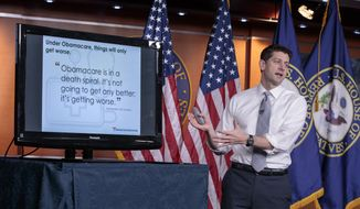 "FILE - In this March 9, 2017 file photo, House Speaker Paul Ryan of Wis. uses charts and graphs to make his case for the GOP's long-awaited plan to repeal and replace the Affordable Care Act during a news conference on Capitol Hill in Washington. Republicans pushing a plan to dismantle Barack Obama's health care law are bracing for a Congressional Budget Office analysis widely expected to conclude that fewer Americans will have health coverage under the proposal, despite President Donald Trump's promise of ""insurance for everybody."" (AP Photo/J. Scott Applewhite, File)"