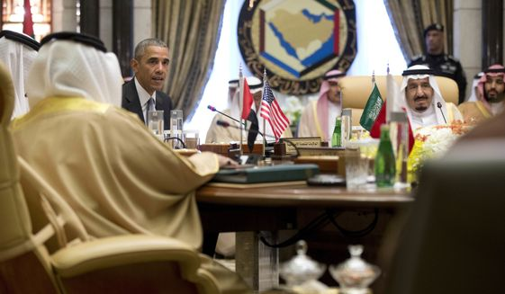 FILE- In this Thursday, April 21, 2016 file photo, President Barack Obama, with Saudi Arabia's King Salman, right, speaks after a Gulf Cooperation Council session at the Diriyah Palace in Riyadh, Saudi Arabia. When President Donald Trump meets with Saudi Arabias Deputy Crown Prince Mohammed bin Salman at the White House in the coming days, the new commander-in-chief will be laying the groundwork for his administrations relations with a Middle Eastern powerhouse and the worlds top oil exporter. (AP Photo/Carolyn Kaster, File)