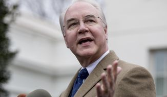Health and Human Services Secretary Tom Price speaks outside the West Wing of the White House in Washington, Monday, March 13, 2017, after Congress' nonpartisan budget analysts reported that 14 million people would lose coverage next year under the House bill dismantling former President Barack Obama's health care law. (AP Photo/Andrew Harnik)