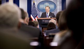 White House press secretary Sean Spicer speaks during the daily press briefing at the White House in Washington, Monday, March 13, 2017. (AP Photo/Andrew Harnik)