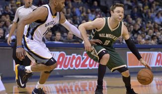 Milwaukee Bucks guard Matthew Dellavedova (8) controls the ball against Memphis Grizzlies guard Vince Carter (15) in the first half of an NBA basketball game, Monday, March 13, 2017, in Memphis, Tenn. (AP Photo/Brandon Dill)