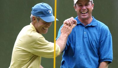 """FILE - In this April 10, 2003, file photo, Jerry Pate, right, is all smiles as he is greeted by Ben Crenshaw, left, at the ninth green after sinking the ball for par on a penalty shot from the tee box in the Masters' Par 3 Contest at the Augusta National Golf Club in Augusta, Ga. Augusta National has sent letters to its honorary invitees to inform them that the Par 3 Contest will be limited to players in the field and past Masters champions. U.S. Open, British Open and PGA Championship winners are exempt to the Masters for five years. After that, they become """"honorary invitees,"""" along with all past U.S. Amateur champions. Pate is a Pate, a former U.S. Amateur and U.S. Open champion. (AP Photo/Doug Mills, File)"""