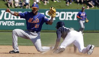 New York Mets shortstop Amed Rosario (61) looks to the umpire for a ruling after Atlanta Braves' Travis Demeritte, right, stole second base in the fifth inning of a spring training baseball game, Friday, March 10, 2017, in Kissimmee, Fla. (AP Photo/John Raoux)