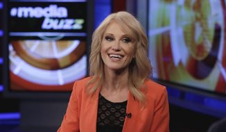 """In this March 10, 2017, file photo, White House counselor Kellyanne Conway appears during the taping of an interview with """"MediaBuzz"""" on the Fox News Channel in New York. (AP Photo/Richard Drew, File)"""