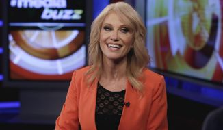 "FILE - In this March 10, 2017 file photo, White House counselor Kellyanne Conway appears during the taping of an interview with ""MediaBuzz"" on the Fox News Channel in New York. President Donald Trump tweeted a critique of the media for being ""rude to my very hard-working representatives"" on Monday, March 13, only minutes after  Conway completed a series of interviews on television morning shows. she spoke on NBC's ""Today"" show and ABC's ""Good Morning America."" Her longest interview, and the one right before Trump's tweet, was with Chris Cuomo on CNN's ""New Day."" (AP Photo/Richard Drew, File)"