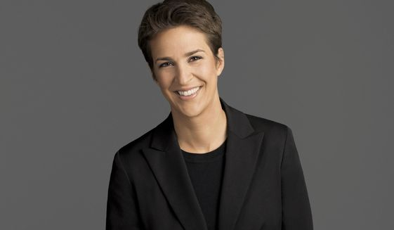 "This image released by NBC shows Rachel Maddow, host of ""The Rachel Maddow Show,"" on MSNBC. Maddow says she can track the mood of her liberal viewers by her ratings: they sank like a stone right after Donald Trump then slowly rose as civic engagement caught on. In February, the MSNBC host had her best month ever.  (MSNBC via AP)"