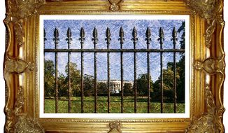 Illustration on the history of the White House fence by Alexander Hunter/The Washington Times
