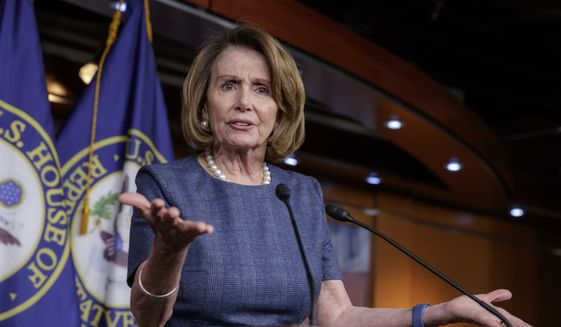 "In this March 9, 2017, file photo, House Minority Leader Nancy Pelosi of Calif. speaks during a news conference on Capitol Hill in Washington. Speaking about health care, Tuesday, March 14, 2017, Pelosi said the GOP measure is ""very, very cruel. It must be stopped."" (AP Photo/J. Scott Applewhite, File)"
