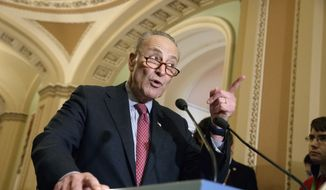 Senate Minority Leader Chuck Schumer, D-N.Y., speaks with reporters at the Capitol in Washington, Tuesday, March, 14, 2017. (AP Photo/J. Scott Applewhite) ** FILE **