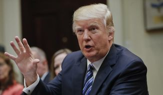 President Donald Trump speaks in the Roosevelt Room of the White House in Washington, in this March 13, 2017, file photo. (AP Photo/Pablo Martinez Monsivais, File)