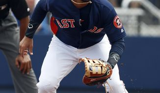 Houston Astros first baseman Yuli Gurriel (10) gets into position during a spring training baseball game against the New York Mets, Tuesday, March 14, 2017, in West Palm Beach, Fla. (AP Photo/John Bazemore)
