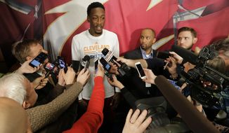 Cleveland Cavaliers' Larry Sanders talks with the media before an NBA basketball game between the Detroit Pistons and the Cleveland Cavaliers, Tuesday, March 14, 2017, in Cleveland. (AP Photo/Tony Dejak)