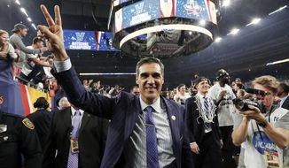 FILE - In this April 4, 2016, file photo, Villanova head coach Jay Wright celebrates after they defeated North Carolina 77-74 in the championship game of the the NCAA Final Four college basketball tournament in Houston. The Wildcats are trying to become the first repeat national champions in 10 years and just may have the team to get it done.  (AP Photo/David J. Phillip, File)