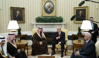 President Donald Trump meets with Saudi Defense Minister and Deputy Crown Prince Mohammed bin Salman bin Abdulaziz Al Saud in the Oval Office of the White House in Washington, Tuesday, March 14, 2017. (AP Photo/Evan Vucci) ** FILE **