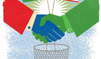 Illustration on an American/Saudi Arabian alliance against Iranian hegemony by Linas Garsys/The Washington Times