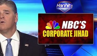 "Fox News Channel's Sean Hannity said the partial release of President Donald Trump's 2005 taxes on MSNBC was proof of ""corporate jihad"" against his administration, March 14, 2017. (Fox News screenshot)"