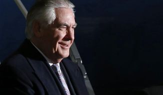 U.S. Secretary of State Rex Tillerson arrives at Haneda international airport in Tokyo, as the first stop of his tour to Asia, Wednesday, March 15, 2017. (Toru Hanai/Pool Photo via AP)