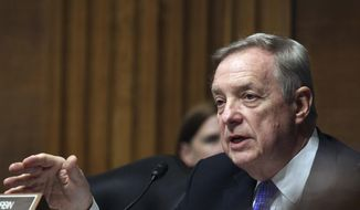 U.S. Sen. Dick Durbin, D-Ill., appears, on Capitol Hill in Washington, in this April 28, 2015, file photo. (AP Photo/Lauren Victoria Burke, File)